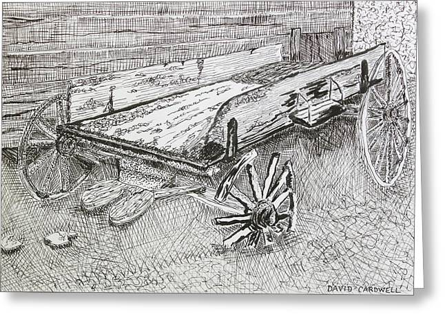 Old Cabins Drawings Greeting Cards - Broken Wagon Greeting Card by David Cardwell