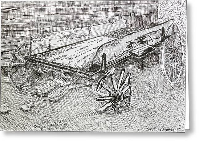 Broken Wagon Greeting Card by David Cardwell