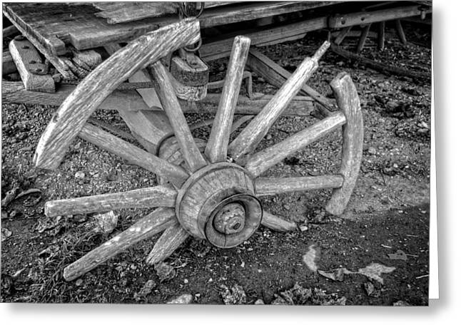 Wagon Wheels Greeting Cards - Broken Wagon Wheel in Black and White Greeting Card by Greg and Chrystal Mimbs