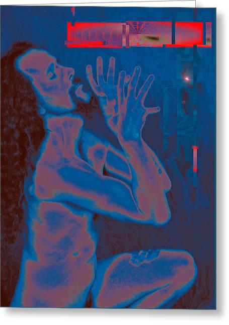 Morphed Photographs Greeting Cards - Broken  Wheel - Blue Road 2014 Greeting Card by James Warren