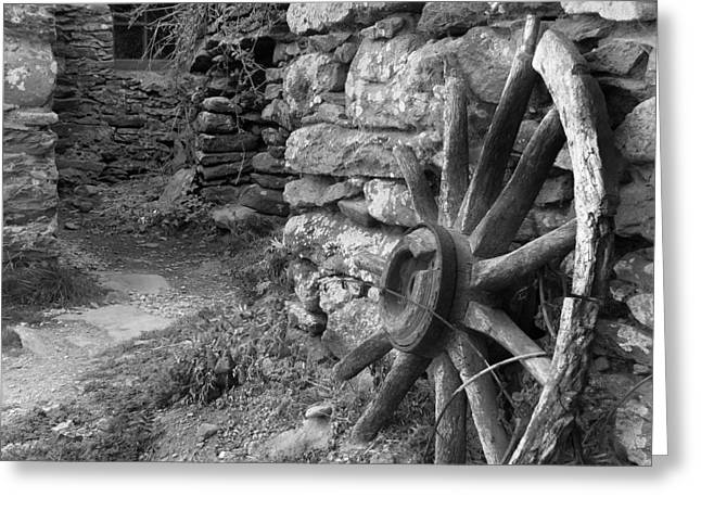 Stone Buildings Greeting Cards - Broken Wheel - Ireland Greeting Card by Mike McGlothlen