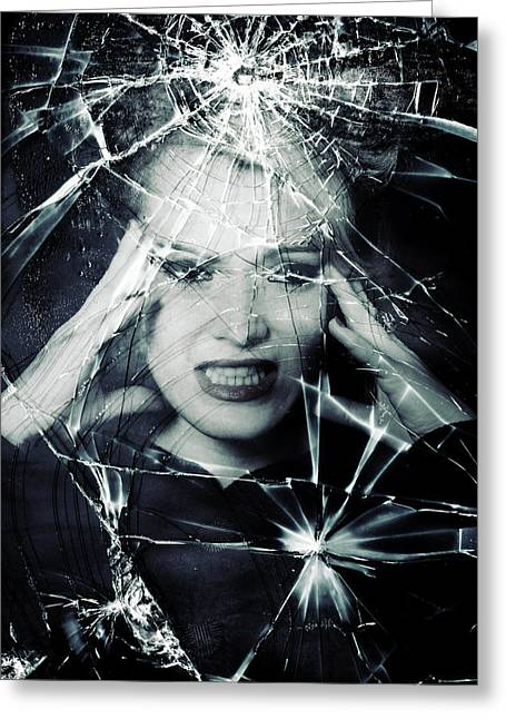Shards Greeting Cards - Broken Window Greeting Card by Joana Kruse