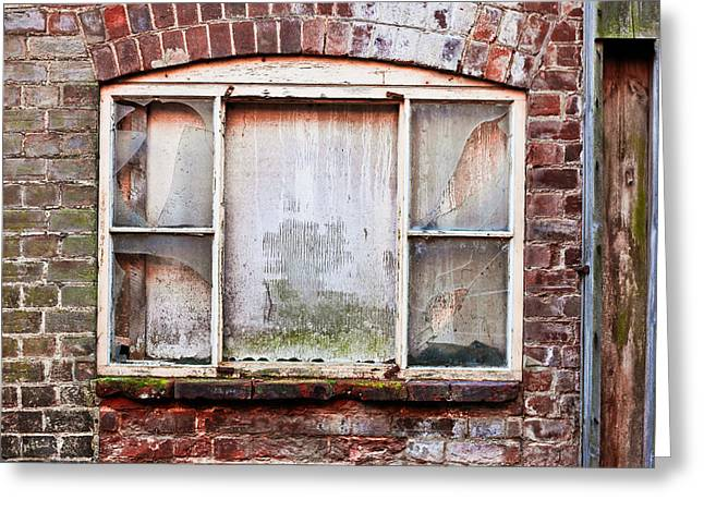 Abandoned Houses Greeting Cards - Broken window Greeting Card by Tom Gowanlock