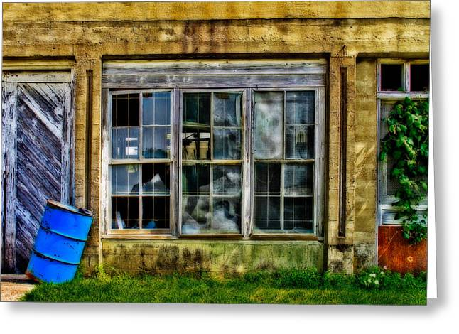 Broken Windows Greeting Cards - Broken Windows and Blue Barrel Greeting Card by David and Carol Kelly