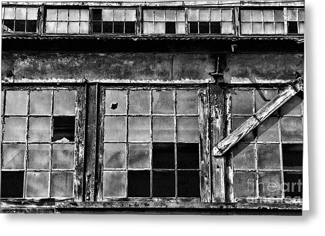 Falling Apart Greeting Cards - Broken Windows in Black and White Greeting Card by Paul Ward