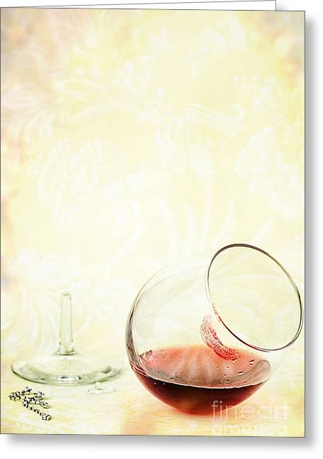 Broken Wine Glass Greeting Card by Stephanie Frey