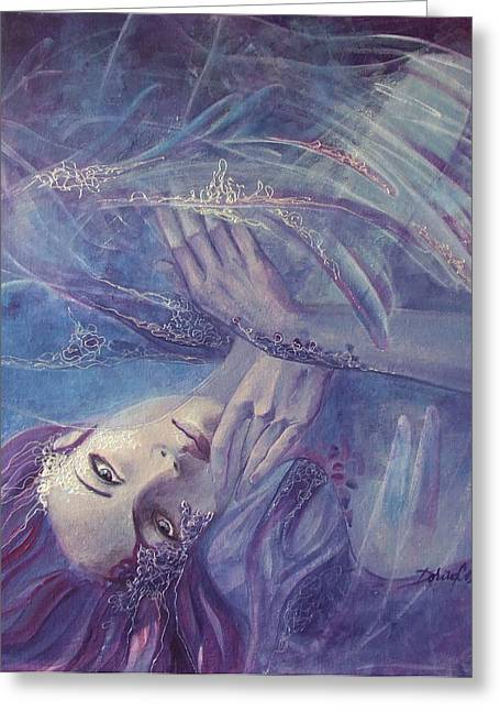 Angel Blues Greeting Cards - Broken wings Greeting Card by Dorina  Costras