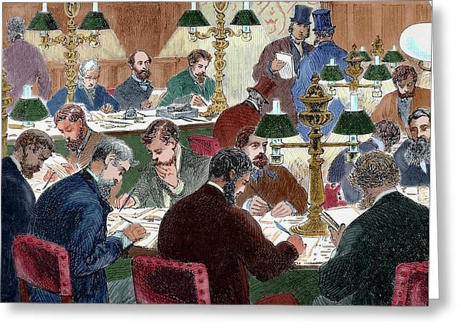 Brokers Working Nineteen-century Greeting Card by Prisma Archivo