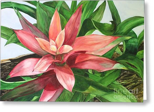 Bromeliad Paintings Greeting Cards - Bromeliad Greeting Card by Kyong Burke