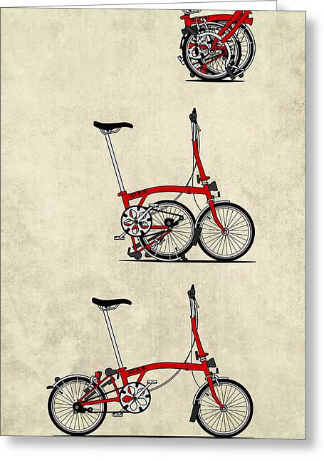 Bicycling Greeting Cards - Brompton Bicycle Greeting Card by Andy Scullion