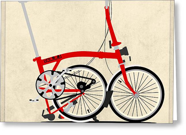 Brompton Bike Greeting Card by Andy Scullion