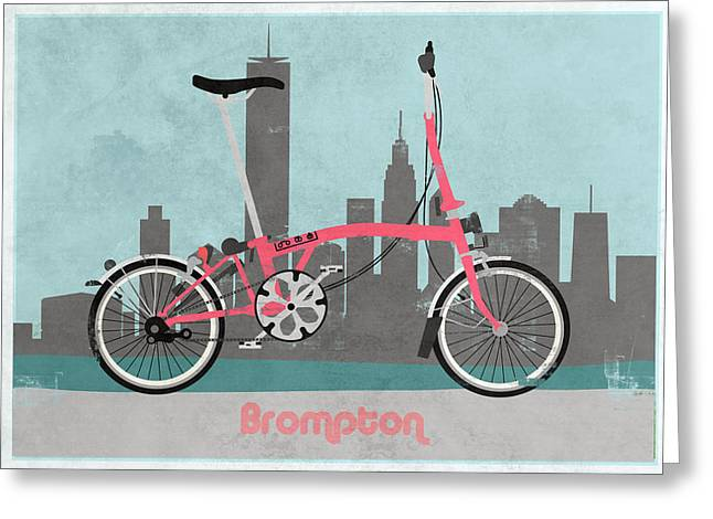 Brompton City Bike Greeting Card by Andy Scullion