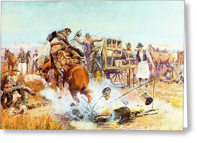 Bronc Greeting Cards - Bronc For Breakfast Greeting Card by Charles Russell