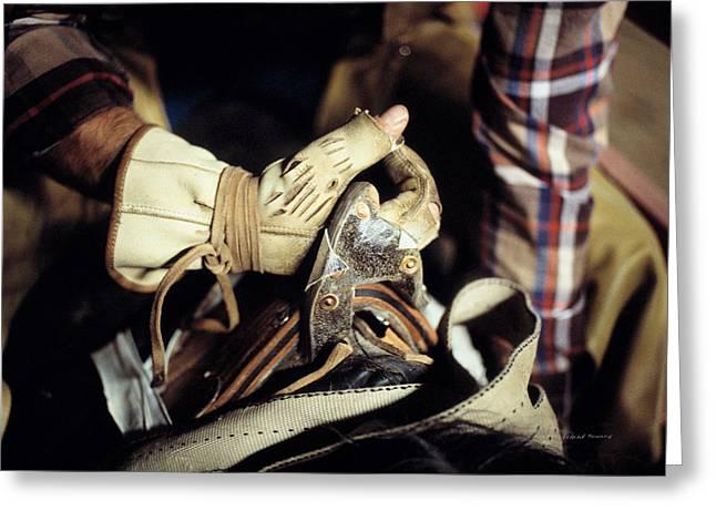 Bronc Rider Grip Greeting Card by Leland D Howard