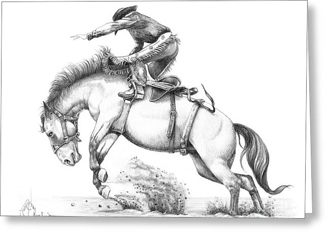 Cowboy Pencil Drawing Greeting Cards - Bronco Greeting Card by Murphy Elliott