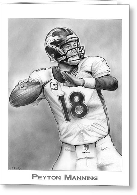 Broncos Peyton Manning Greeting Card by Greg Joens