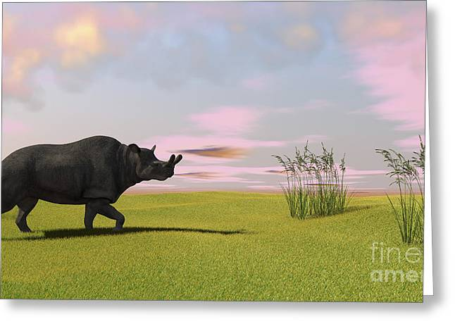 Recently Sold -  - One Horned Rhino Greeting Cards - Brontotherium Grazing In Prehistoric Greeting Card by Kostyantyn Ivanyshen
