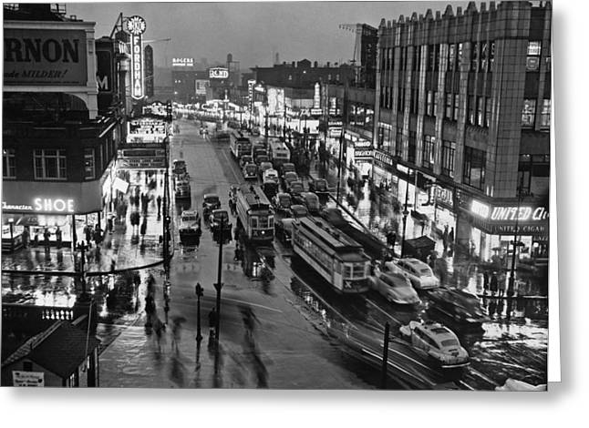Bronx Fordham Road At Night Greeting Card by Underwood Archives