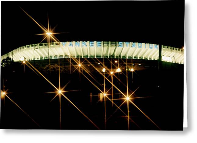 Collectible Mixed Media Greeting Cards - Bronx Night  Yankee Stadium Greeting Card by Iconic Images Art Gallery David Pucciarelli