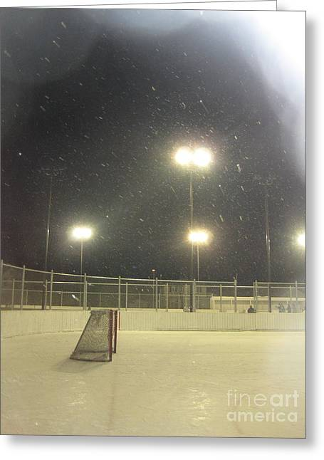 Outdoor Hockey Greeting Cards - Bronx Park Hockey Night Greeting Card by Kyle Balharry