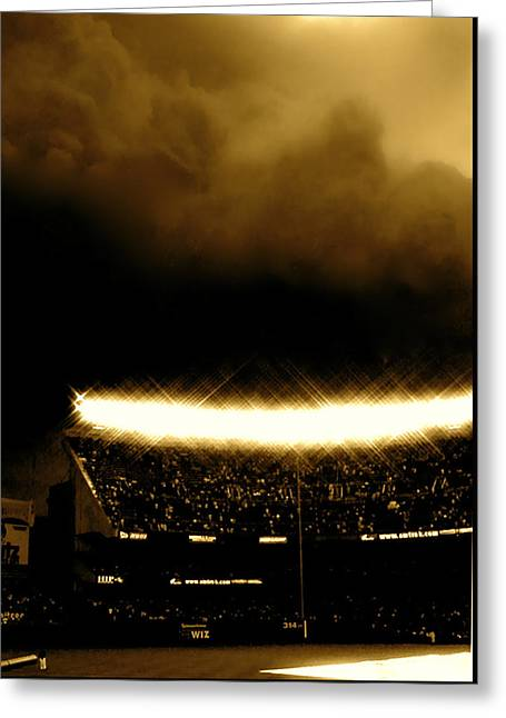 Photograph Tapestries - Textiles Greeting Cards - Bronx Storm Yankee Stadium  Greeting Card by Iconic Images Art Gallery David Pucciarelli