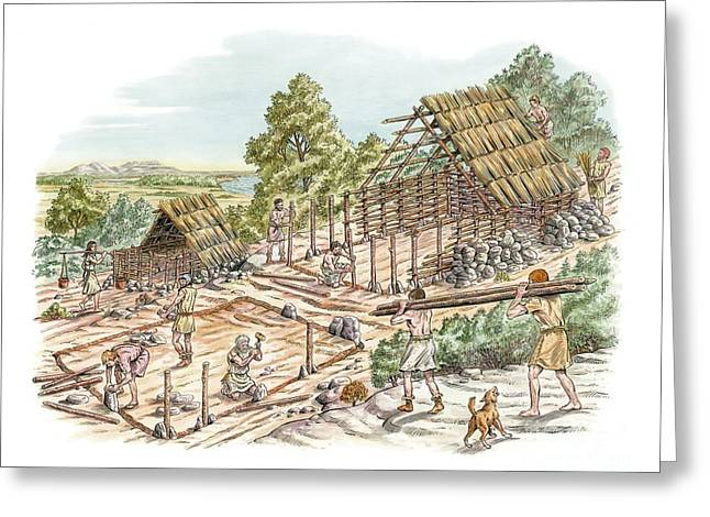 Wooden Stake Greeting Cards - Bronze Age House Building, Artwork Greeting Card by Luis Montanya/marta Montanya/sciencephotolibrary
