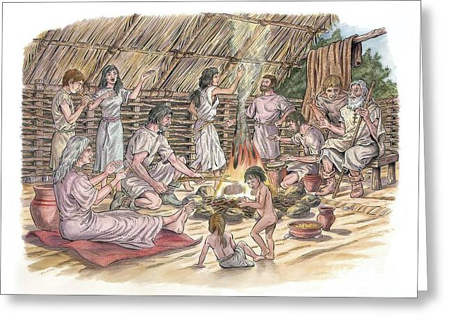 Wooden Building Greeting Cards - Bronze Age Human Culture, Artwork Greeting Card by Luis Montanya/marta Montanya/sciencephotolibrary