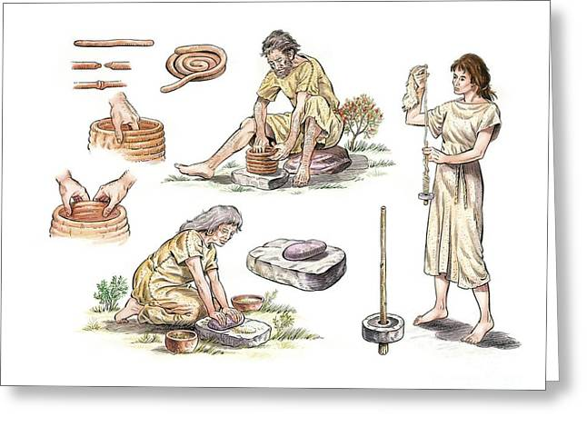 White Cloth Greeting Cards - Bronze Age Tools And Utensils, Artwork Greeting Card by Luis Montanya/marta Montanya/sciencephotolibrary