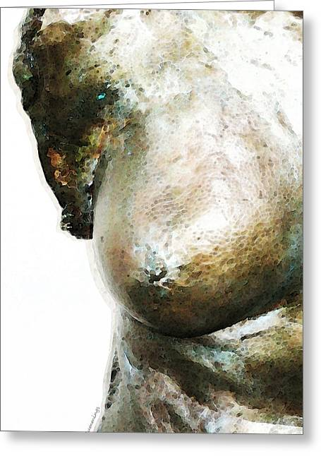 Nudes Sculptures Greeting Cards - Bronze Bust 1 Greeting Card by Sharon Cummings