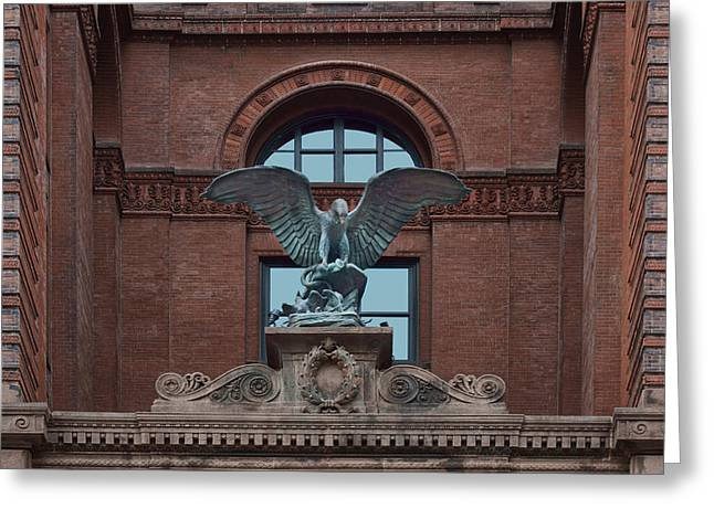 Terra Cotta Sculpture Greeting Cards - Bronze Eagle - Omaha Building Greeting Card by Nikolyn McDonald