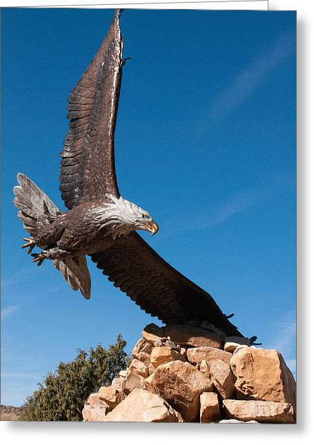 Geobob Greeting Cards - Bronze Eagle Sculpture Dennis Weaver Memorial Park Ridgway Colorado Greeting Card by Robert Ford