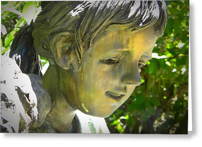 Garden Statuary Greeting Cards - Bronze Face Greeting Card by Frank Wilson