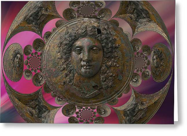 Gaia Mixed Media Greeting Cards - Bronze greek Greeting Card by Gaia Ragu