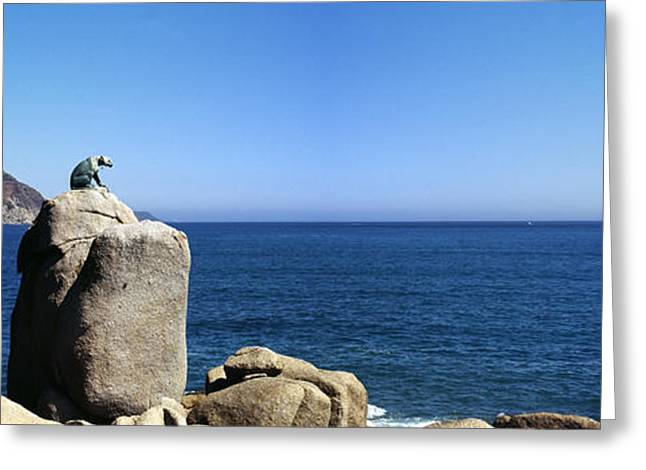 Sea Animals Greeting Cards - Bronze Leopard Statue On A Boulder Greeting Card by Panoramic Images