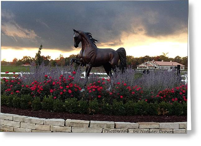 Sized Sculptures Greeting Cards - Bronze Life Size Horse Sculpture. Greeting Card by J Anne Butler