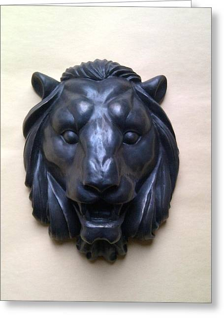 Statue Reliefs Greeting Cards - Bronze Lion Head - wall ornament Greeting Card by Konstantin Fedorov