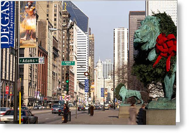 Flag Of Usa Greeting Cards - Bronze Lion Statue In Front Greeting Card by Panoramic Images