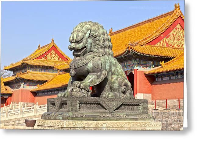 Forbidden City Greeting Cards - Bronze Lioness Forbidden City Beijing Greeting Card by Colin and Linda McKie