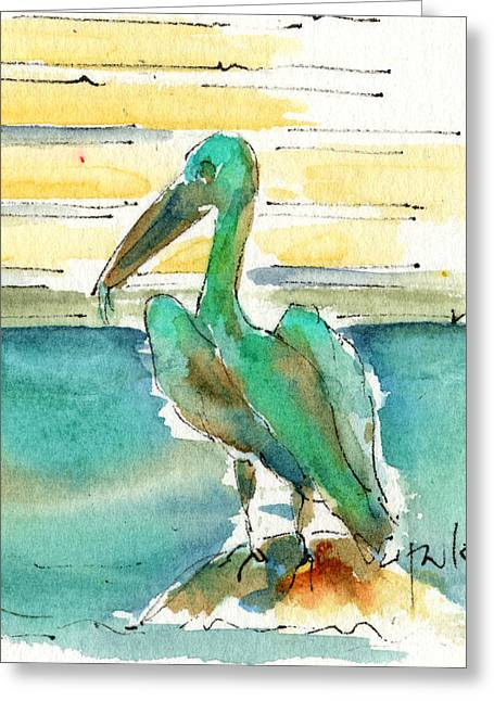 Sienna Greeting Cards - Bronze Pelican Greeting Card by Pat Katz