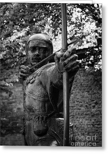 Nottingham Greeting Cards - bronze Robin Hood statue close up castle green castle road nottingham england Greeting Card by Joe Fox