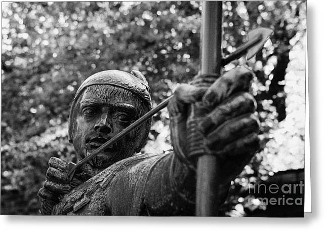 Nottingham Greeting Cards - bronze Robin Hood statue close up castle road castle green nottingham england close up  Greeting Card by Joe Fox