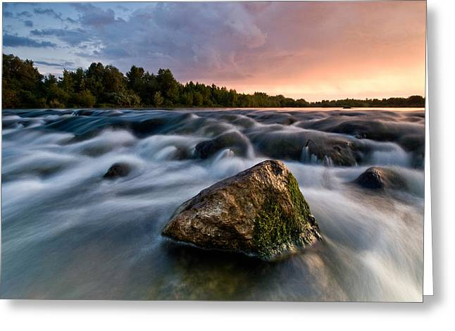 Rapids Greeting Cards - Bronze rock Greeting Card by Davorin Mance