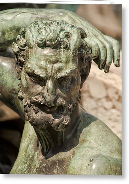 Statue Portrait Photographs Greeting Cards - Bronze Satyr in the Fountain of Neptune of Florence Greeting Card by Melany Sarafis