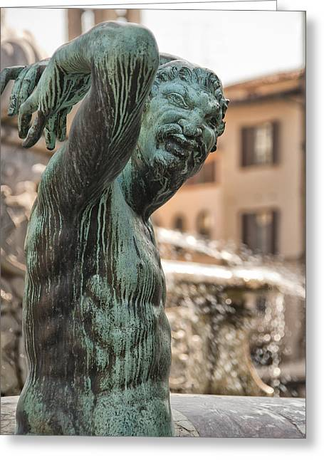 Mancave Photos Greeting Cards - Bronze Satyr in the Statue of Neptune Greeting Card by Melany Sarafis
