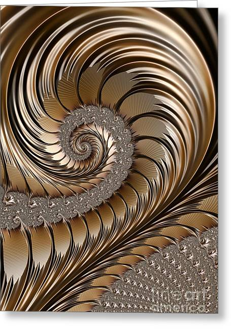 Brass Greeting Cards - Bronze Scrolls Abstract Greeting Card by John Edwards