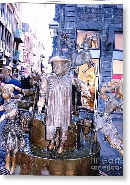 Street Greeting Cards - Bronze Sculpture Aachen Germany Greeting Card by Anthony Morretta