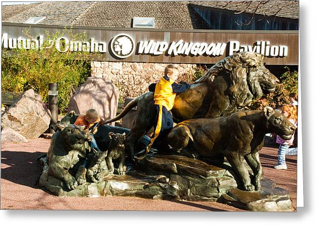 Geobob Greeting Cards - Bronze Sculpture of Lions and Children Omaha Zoo Nebraska Greeting Card by Robert Ford