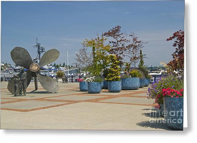Bronze Sculpture Greeting Cards - Bronze Sculpture, Puget Sound Greeting Card by Ellen Thane
