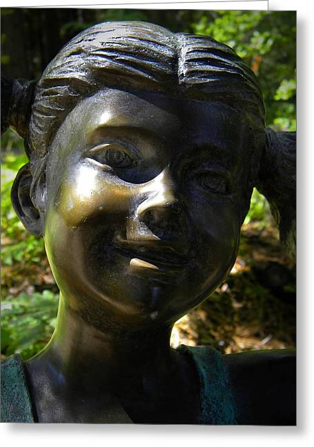 Garden Statuary Greeting Cards - Bronze Smile Greeting Card by Frank Wilson