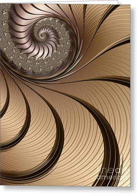 Web Digital Art Greeting Cards - Bronze Spiral Greeting Card by John Edwards